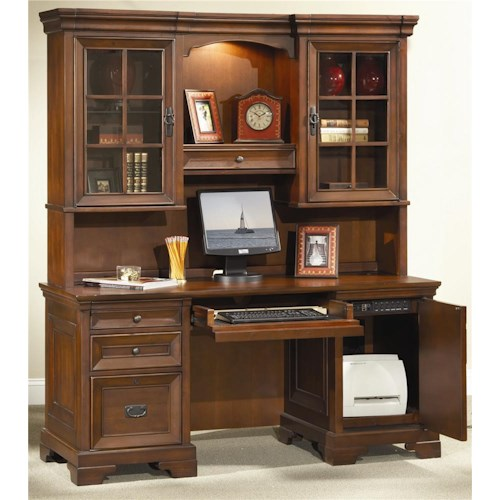 Aspenhome Richmond 66 Inch Credenza Desk and Hutch