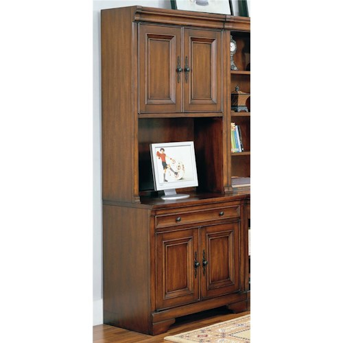 Morris Home Furnishings Richmond 34 Inch Credenza Computer Desk and Door Hutch