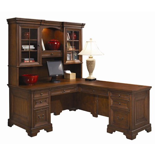 Morris Home Furnishings Richmond L-Shaped Computer Desk and Return With Hutch