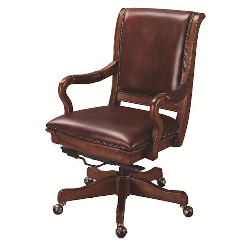 Morris Home Furnishings Richmond Leather Upholstered Caster Office Chair with Adjustable Seat Height and Knee Tilt Features