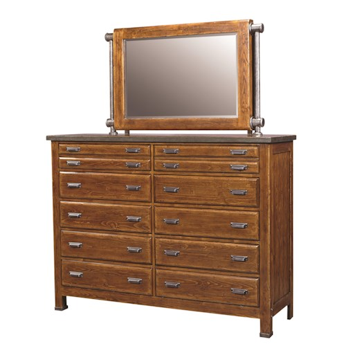 Morris Home Furnishings Rockland 10 Drawer Chesser and Mirror Combo