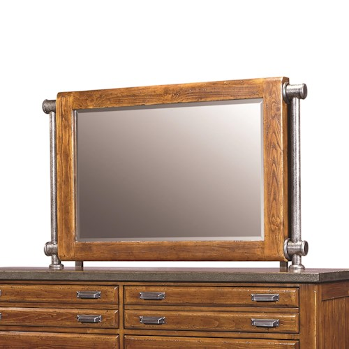 Aspenhome Rockland Wood Framed Chesser Mirror with Metal Accents