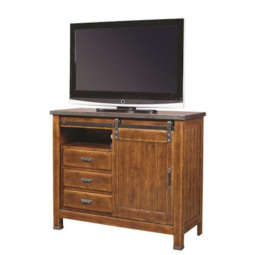 Morris Home Furnishings Rockland Sliding Door Media Chest with Cedar-Lined Bottom Drawer