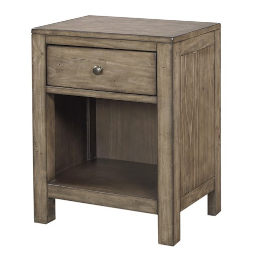 Aspenhome Tildon One Drawer Nightstand with Open Shelf