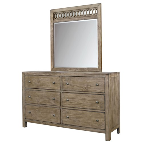 Aspenhome Tildon 6 Drawer Dresser and Fret Mirror