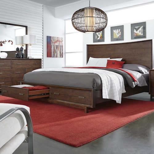 Morris Home Furnishings Walnut Heights California King Panel Storage Bed with 2 Cedar Lined Drawers in Footboard
