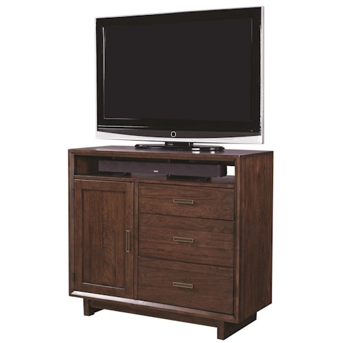 Aspenhome Walnut Heights 3 Drawer Media Chest in Warm Tobacco Finish