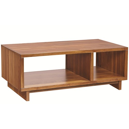 Aspenhome Walnut Heights Cocktail Table with 2 Open Compartments