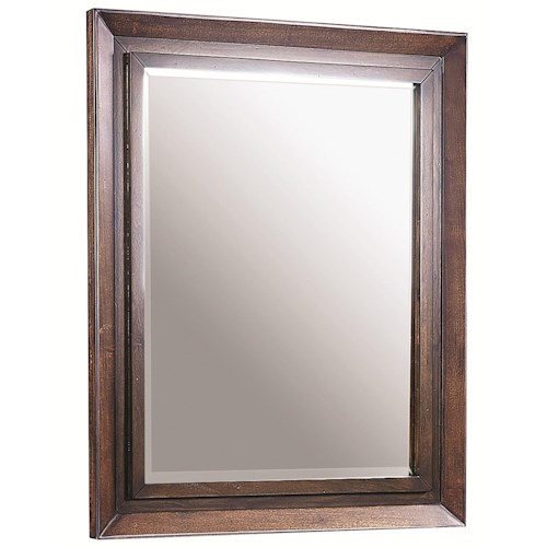 Aspenhome Walnut Park Landscape Mirror with Picture Frame Molding