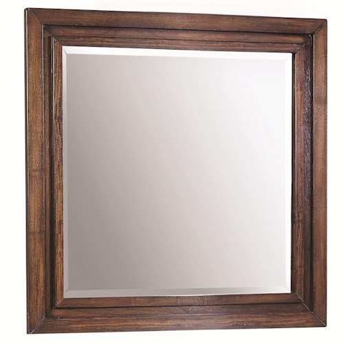 Aspenhome Walnut Park Square Mirror with Picture Frame Molding