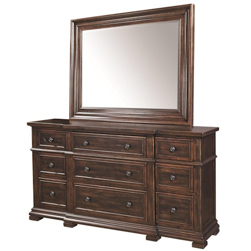 Aspenhome Westbrooke 9 Drawer Breakfront Dresser and Mirror Set