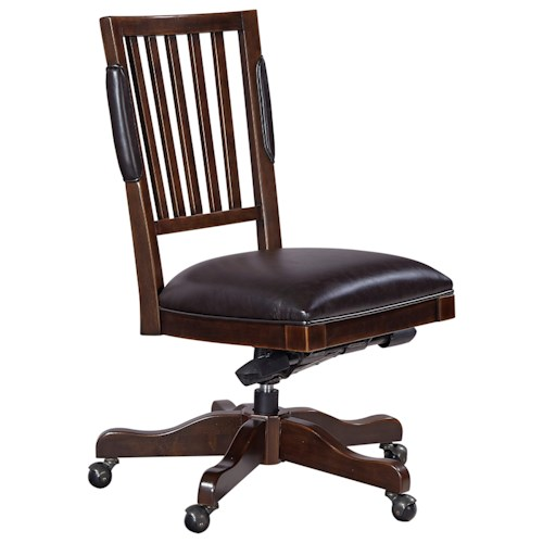 Aspenhome Weston Office Chair with Bonded Leather Seat