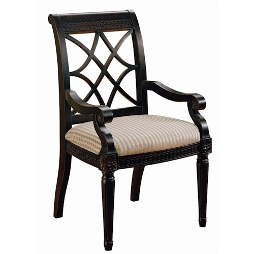 Morris Home Furnishings Youngstown Fret-Back Dining Arm Chair with Upholstered Seat