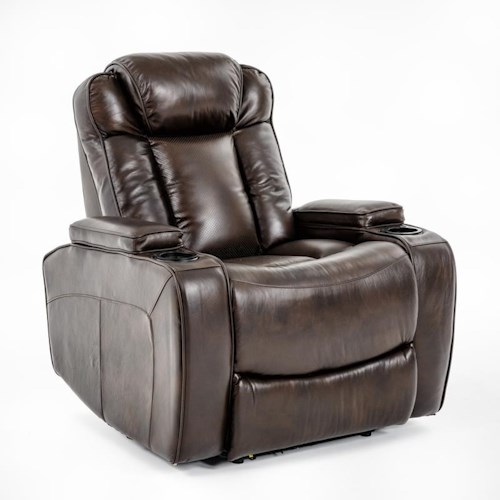 Ausen AS4062 Power Recliner with Power Adjustable Headrest and Cupholder Storage Arms
