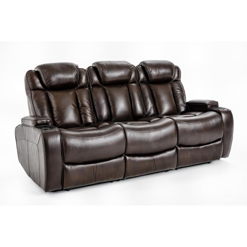 Ausen AS4062 Power Reclining Sofa with Power Headrests and Drop-Down Table with Charging Ports