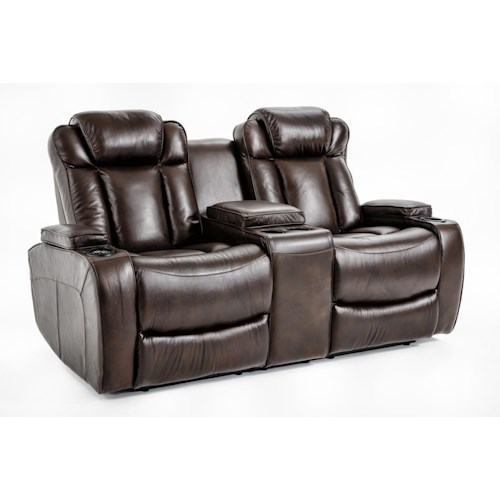 Ausen AS4062 Power Reclining Loveseat with Power Adjustable Headrests and Four Cupholders