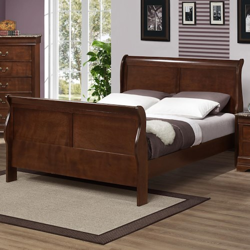 Austin Group Big Louis King Sleigh Bed with Curved Posts