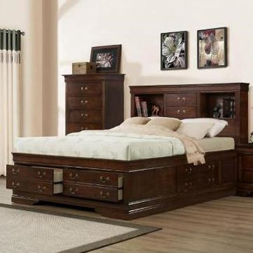 Austin Group Marseille Queen Transitional Storage Bed with Bookcase Headboard