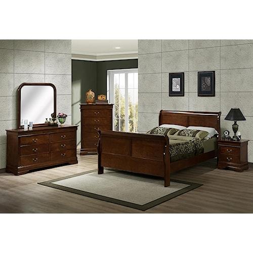 Austin Group Big Louis Queen Sleigh Bed, Dresser, Mirror & Nightstand