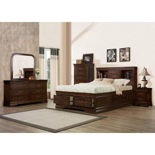Austin Group Big Louis King Storage Bed, Dresser, Mirror & Nighstand
