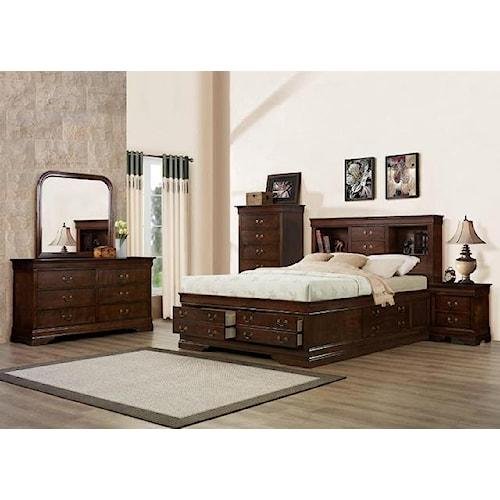 Austin Group Big Louis Queen Storage Bed, Dresser, Mirror & Nighstand