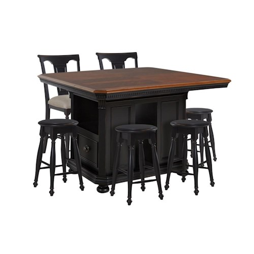 Avalon Furniture Rivington Hall Kitchen Island, 4 Backless Stools & 2 Gathering Stools