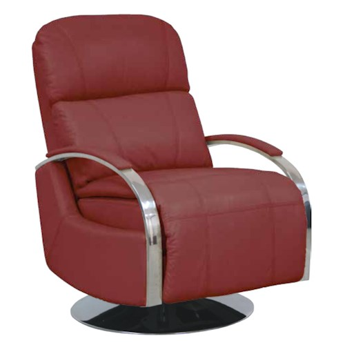 Barcalounger Metro Living Regal II Swivel Recliner with Chrome Arms and Chaise Footrest