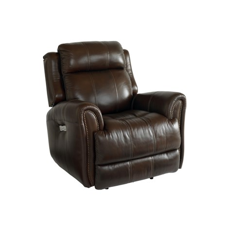Bassett Marquee Chocolate Leather Power Wallsaver Recliner with Power Headrest
