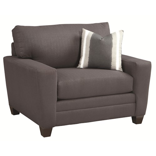 Bassett 3844 Transitional Upholstered Chair and a Half with Track Arms