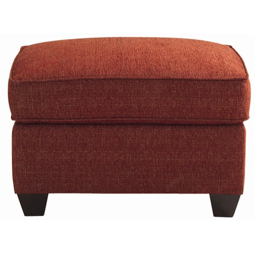 Bassett Brewster Upholstered Ottoman with Exposed Wood Feet