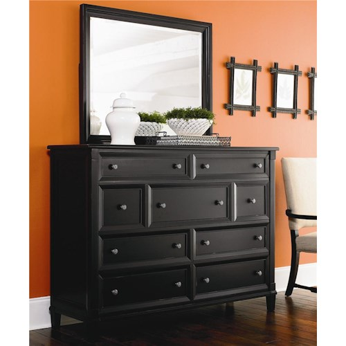 Bassett Chatham 9 Drawer Bureau & Lanscape Mirror