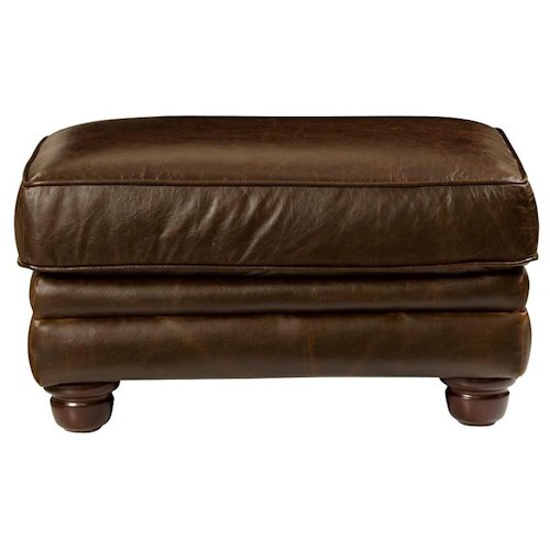 Bassett Chesterfield Accent Ottoman w/ Cushioned Seat