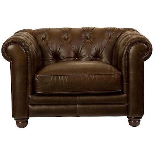Bassett Chesterfield Upholstered Chair w/ Rolled Arms