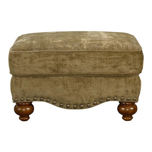 Bassett Club Room Ottoman with Nail Heads and Bun Feet