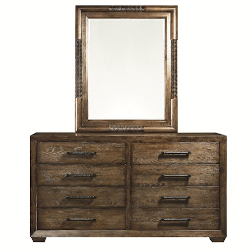 Bassett Compass 8-Drawer Dresser and Landscape Mirror Combination
