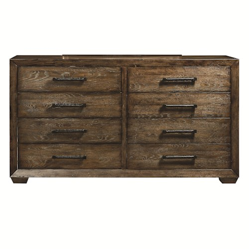 Bassett Compass 8-Drawer Dresser with Felt-Lined Top Drawer and Cedar-Lined Bottom Drawers