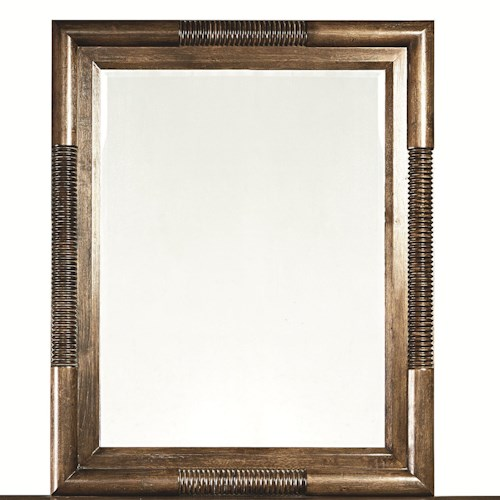 Bassett Compass Rectangular Landscape Mirror with Wooden Frame