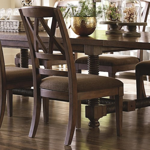 Bassett Compass Dining Side Chair with X-Back and Upholstered Seat