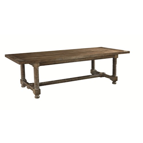 Bassett Compass Rectangular Wooden Dining Table with Turned Legs and Trestle Base