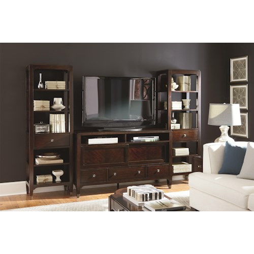 Bassett Cosmopolitan Transitional Entertainment Center with Charging Station and Two Pier Shelves