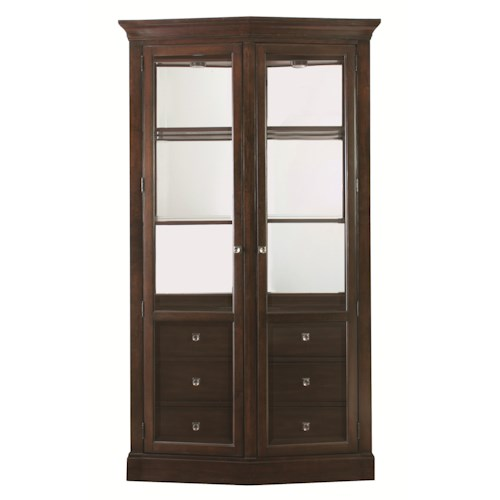 Bassett Cosmopolitan Transitional China Cabinet with Glass Doors and Built-In Touch Lighting