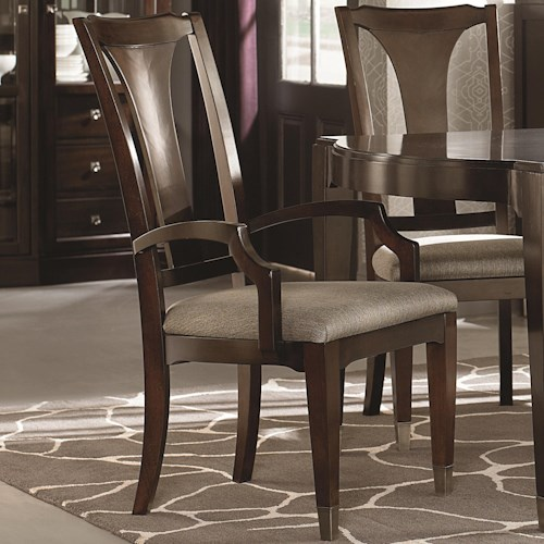 Bassett Cosmopolitan Transitional Dining  Armchair with Urn Back and Upholstered Seat