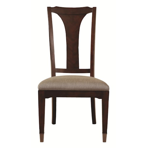 Bassett Cosmopolitan Transitional Dining Side Chair with Urn Back and Upholstered Seat