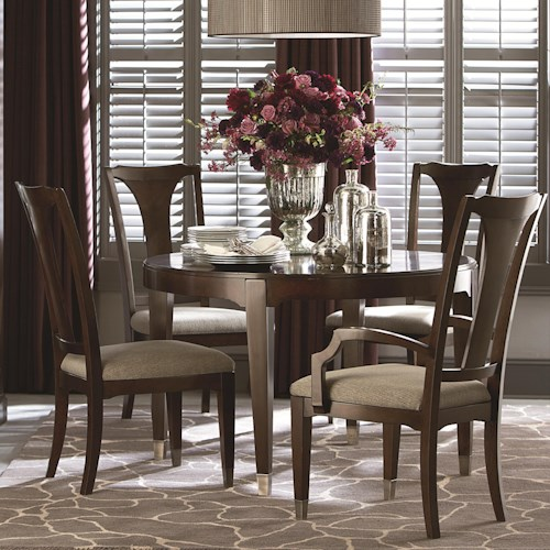 Bassett Cosmopolitan Transitional Five Piece Dining Set with Round Table