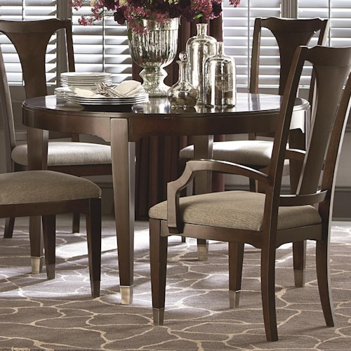 Bassett Cosmopolitan Transitional Round Dining Table with Tapered Block Legs and Nickel Ferrules