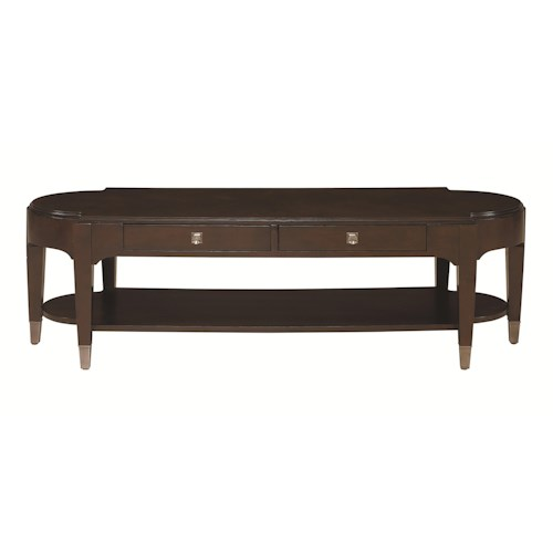 Bassett Cosmopolitan Transitional Long Cocktail Table with 2 Drawers and 1 Lower Shelf