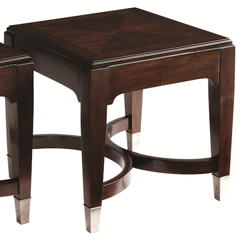 Bassett Cosmopolitan Transitional Bunching Square Tables with Geometric Stretchers