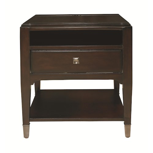 Bassett Cosmopolitan Transitional End Table with Three Outlet Charging Station