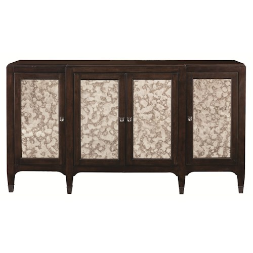Bassett Cosmopolitan Transitional Serving Credenza with Silvered Decorative Panel Doors