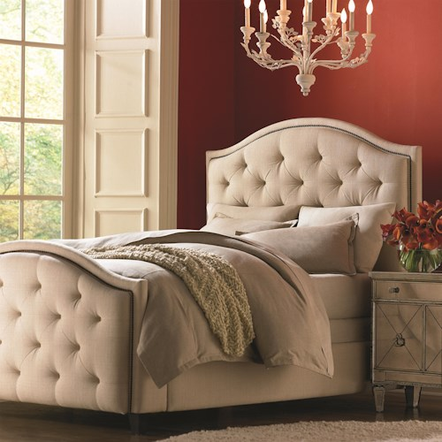Bassett Custom Upholstered Beds Full Vienna Upholstered Headboard and High Footboard Bed